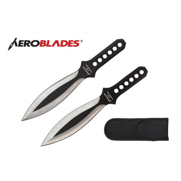 "2 Piece 7.5"" Silver Wings Throwing Knives Set w/ Holes in the Handle (Black)"