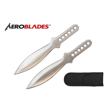 "2 Piece 7.5"" Silver Wings Throwing Knives Set w/ Holes in the Handle (Chrome)"