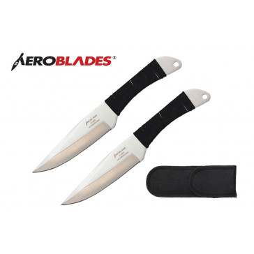 """2 Piece 7.5""""  Throwing Knives Set w/ Cord Wrapped Handle (Chrome)"""