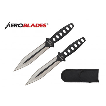 "2 Piece 7.5"" Double Edged Throwing Knives Set w/ Holes in Handle (Black)"