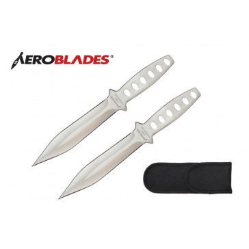 """2 Piece 7.5"""" Double Edged Throwing Knives Set w/ Holes in Handle (Chrome)"""