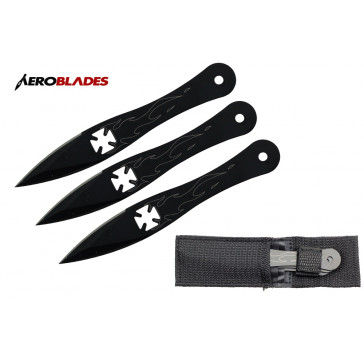"5.5"" Set of 3 Iron Cross Throwing Knives"