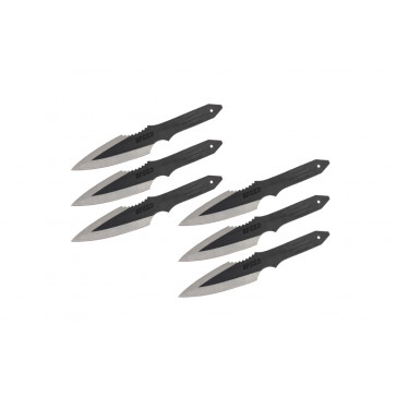 "6 Piece Black 9"" Throwing Knives With Case"