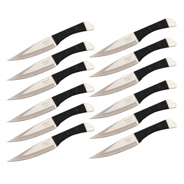 "9"" Set of 12 Black Cord Wrapped Throwing Knives"