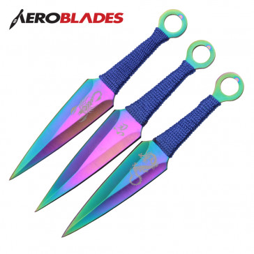 "6.5"" Set of 3 Rainbow Scorpion Kunai Knives"