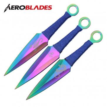 "6.5"" Set of 3 Rainbow Scorpion Kunai Knives"