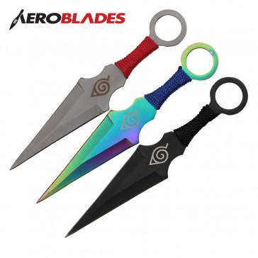 "6.5"" Set of 3 Assorted Color Ninja Kunai Knives w/ Ninja Symbol"
