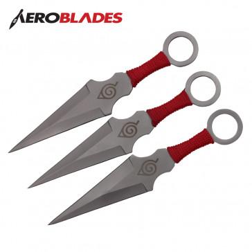 "6.5"" Set of 3 Chrome Ninja Kunai Knives"