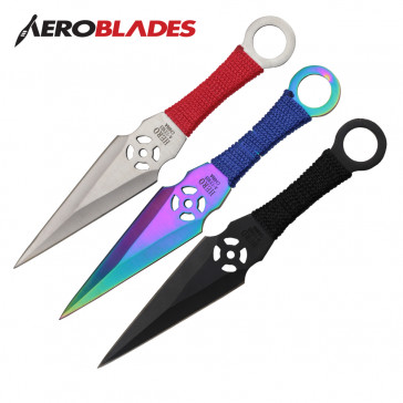 "6.5"" Set of 3 Assorted Ninja Kunai Knives"