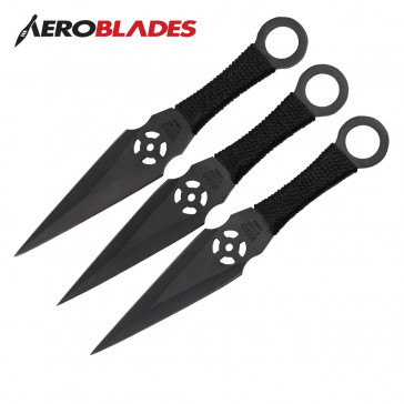 "6.5"" Set of 3 Black Ninja Kunai Knives"