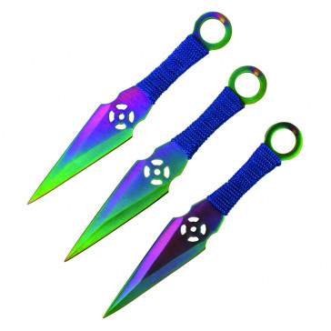 "6.5"" Set of 3 Rainbow Ninja Kunai Knives"