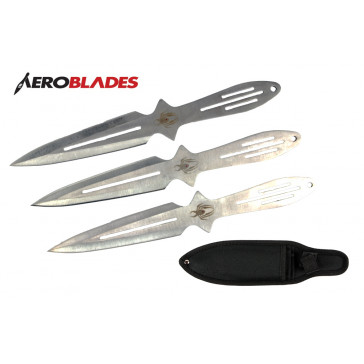 "9"" Set of 3 Chrome Spider Throwing Knives"