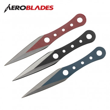 "6.5"" Set of 3 Throwing Knives (Black/Blue/Red)"