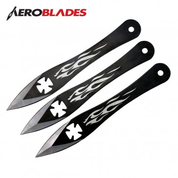 "9"" Set of 3 Iron Cross Throwing Knives"