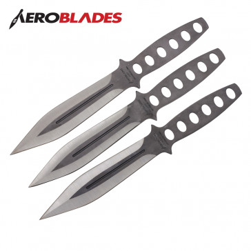 "9"" Set of 3 Silver Throwing Knives"