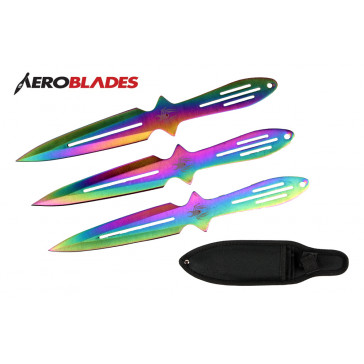 """8.5"""" Set of 3 Rainbow Spider Throwing Knives"""