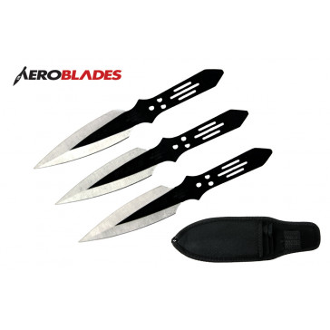 "6.5"" Set of 3 Black Flash Throwing Knives"