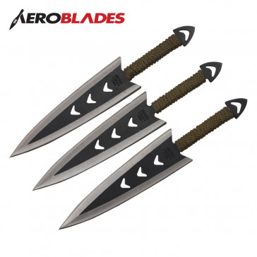 "Set of 6 6.5"" Paracord Wrapped Arrowhead Throwing Knives"