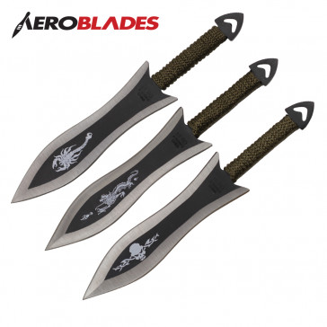 """Set of 3 6.5"""" Paracord Wrapped Arrowhead Assorted Throwing Knives"""