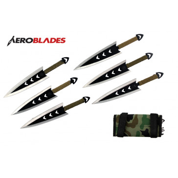"""6 Piece 6.5"""" Two Toned Throwing Arrow Set With Free Wrapped Handles And Camo Carrying Case"""