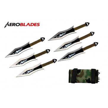 "6 Piece 6.5"" Two Toned Dragon Bladed Throwing Knives Set With Green Wrapped Handles And Camo Carrying Case"