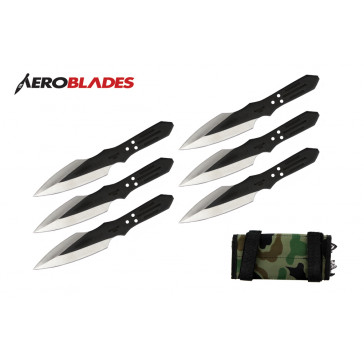"6 Piece 6.5"" Black Thunder Bolt Throwing Knives With Case"