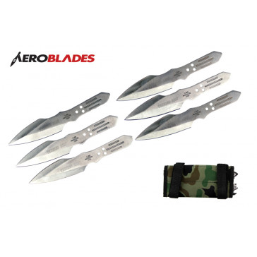 """6 Piece 6.5"""" Chrome Thunder Bolt Throwing Knives With Case"""