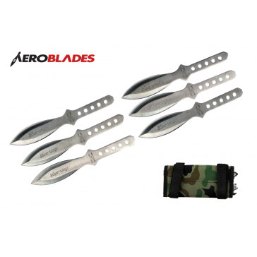 "6 Piece 6.5"" Chrome Silver Wings Throwing Knives With Camo Carrying Case"