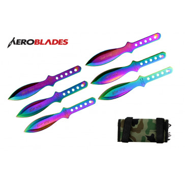 "6 Piece 6.5"" Rainbow Silver Wings Throwing Knives Set With Camo Carrying Case"