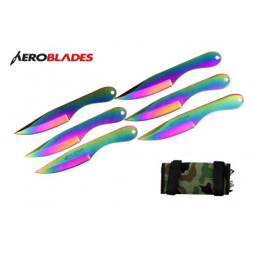 "6 Piece 6.5"" Rainbow Jack Ripper Throwing Knives Set With Camo Carrying Case"