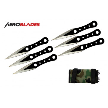 "6 Piece 6.5"" Two Toned Bladed Black Throwing Knife Set With Camo Carrying Case"