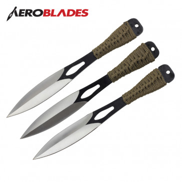 "Set of 3 9"" Cord-Wrapped Throwing Knives"