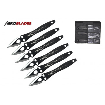 "Set of 6 9"" Two-Toned Flame Throwing Knives"