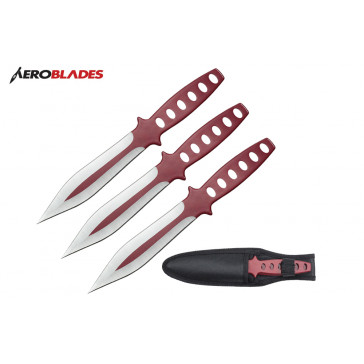 "9"" 3 pcs set two tone red throwing knife"