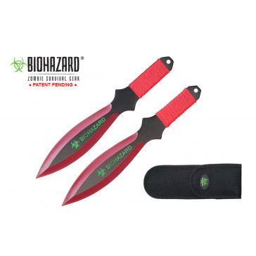 9 inch 2pc set red/black blade zombie thrower