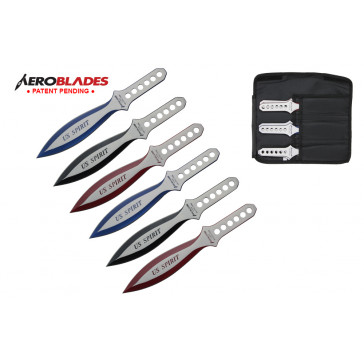 "Set of 6 9"" Assorted US Spirit Throwing Knives"