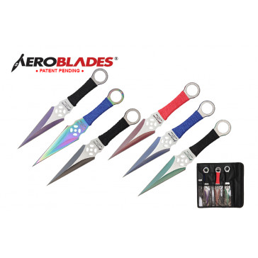 9 inch 12pc set two tone kunai throwing knife