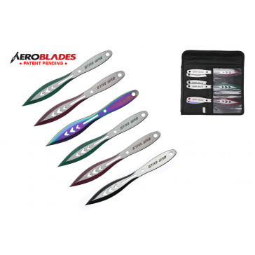 """6 Piece 9"""" Star War Two Toned Colored Blades Throwing Knives Set With Case"""
