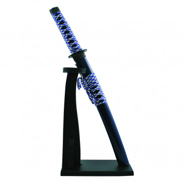 """14.5"""" Miniature DELUXE Katana Letter Opener w/ Vertical Stand (Blue)"""