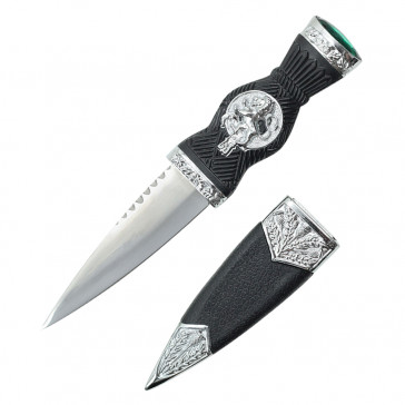 "7.25"" Overall Dirk With Lion Handle And Green Gem"