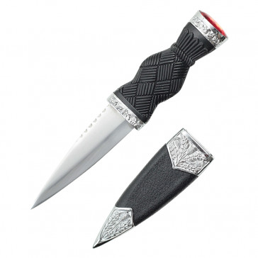 "7.25"" Overall Dirk With Plain Handle And Red Gem"