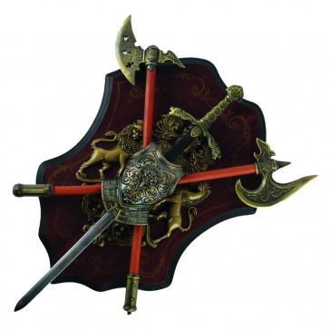 """16"""" Mini Sword And Battle Axe Set With Wooden Display Plaque"""