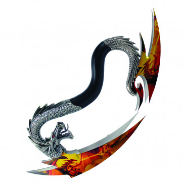 "9"" Dual Dragon Knives With Colorful Yellow and Orange Mural On the Blades With Wooden Display Base"