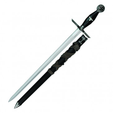 "23"" German Dagger With Black Handle and Scabbard With Brown Leather Wrapper Scabbard"