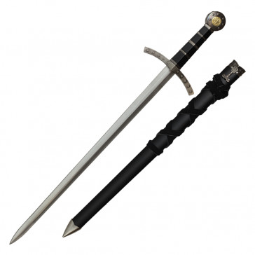 """Knights Of Templar Crusader Sword 23"""" With Black Scabbard"""