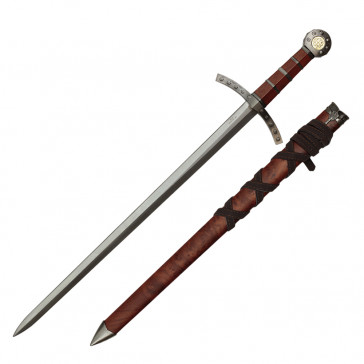 "Knights Of Templar Crusader Sword 23"" With Brown Scabbard"