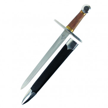 "19"" Dagger With Wooden Handle, Stainless Steel Blade, and Black Scabbard"
