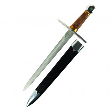 "19"" Wooden Handle Dagger, Stainless Steel Blade With Black Scabbard"