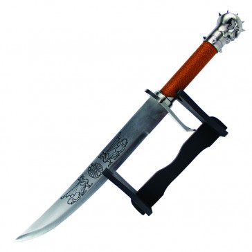"""24"""" Dagger With Skull Head Handle And Wrapped Scabbard With Wooden Display Base"""