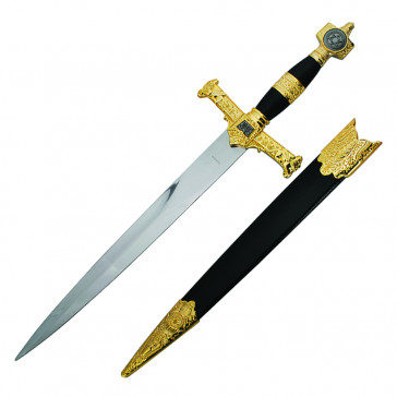"King Solomon Dagger 21.5"" Black Scabbard With Gold"
